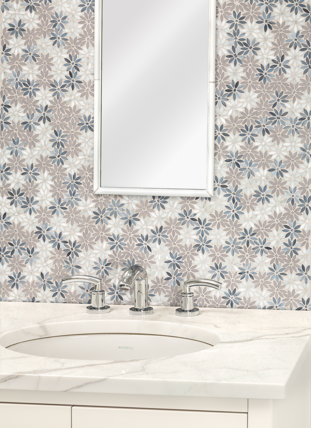dapper daisy jazz glass water jet mosaic by artistic tile featured on designjournal