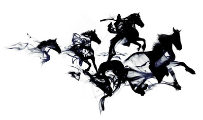 B&W Prints - Black Horses by Robert Farkas