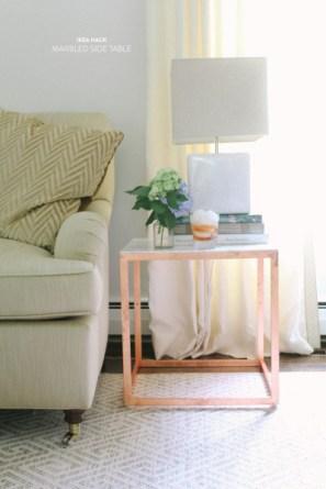 DesignJoyBlog DIY Ikea VITTSJÖ Hacks Cooper and Marble Sidetable