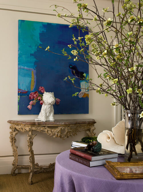 Traditional-home-office-with-abstract-art