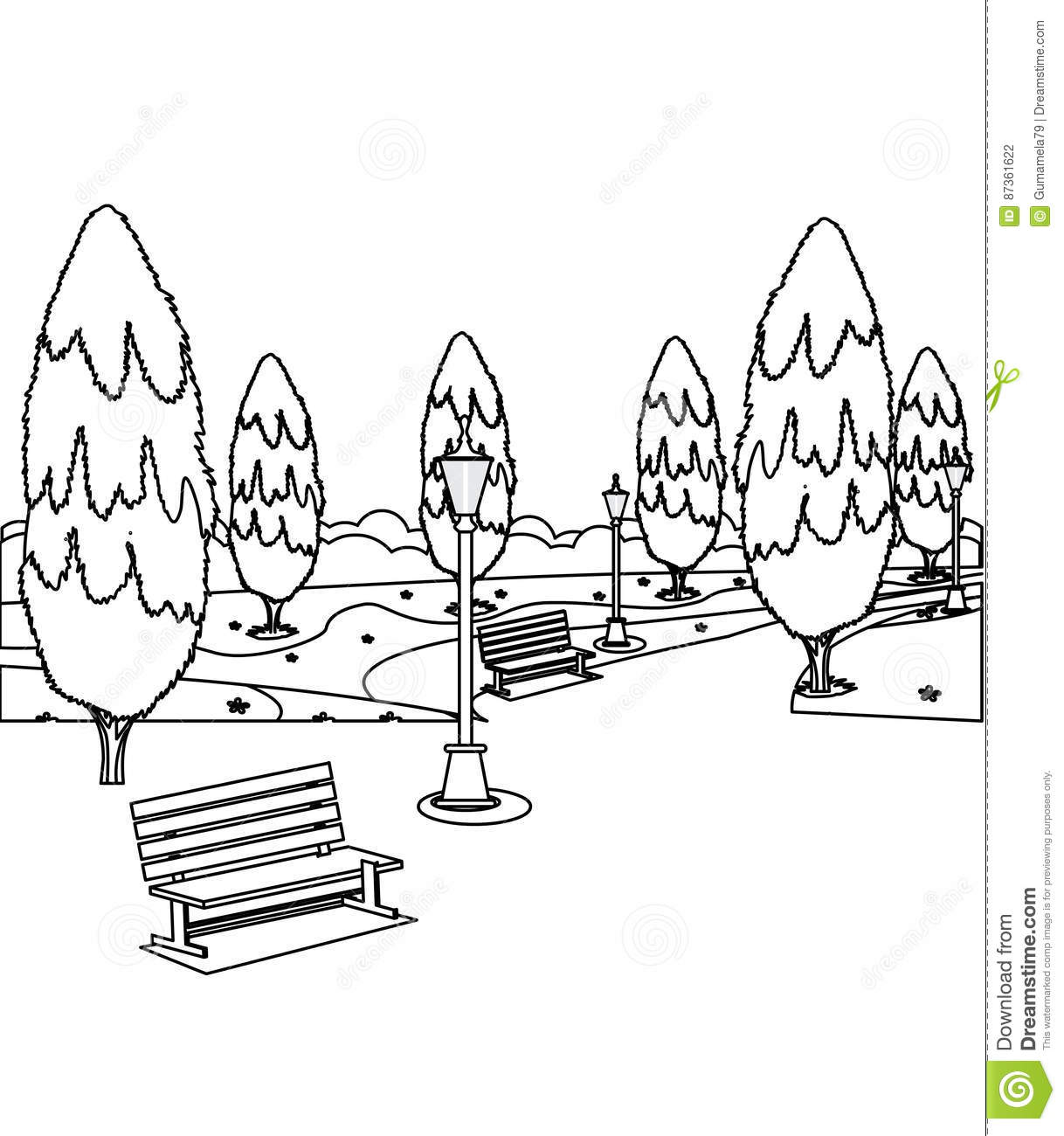 Download Park Bench Coloring For Free