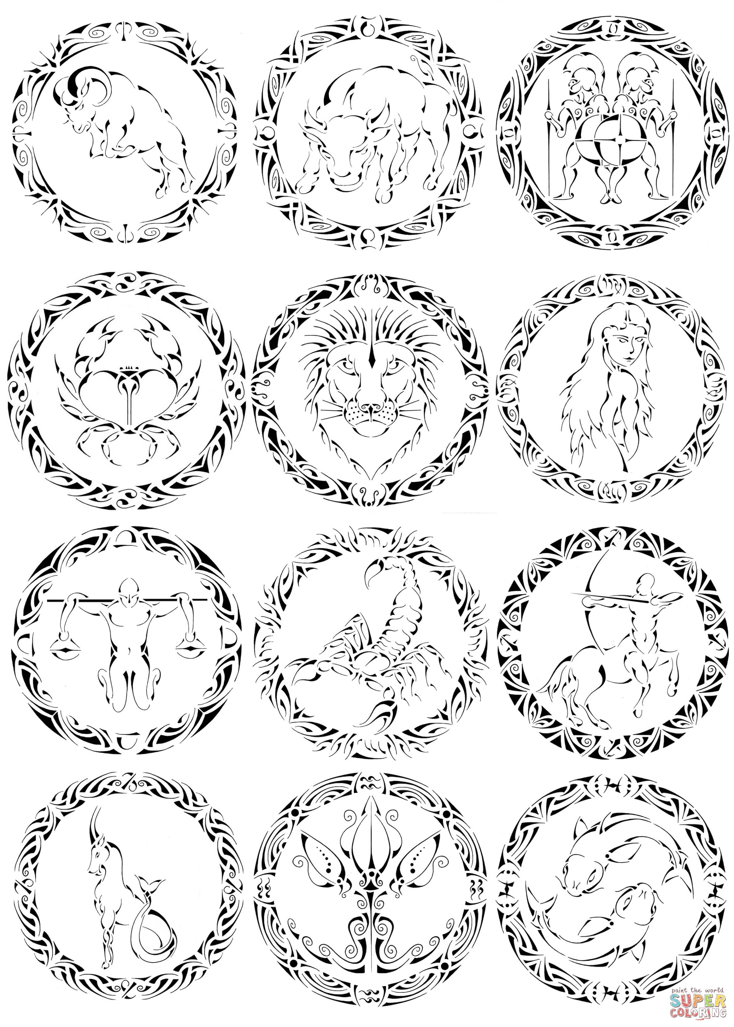 Zodiac Coloring Download Zodiac Coloring