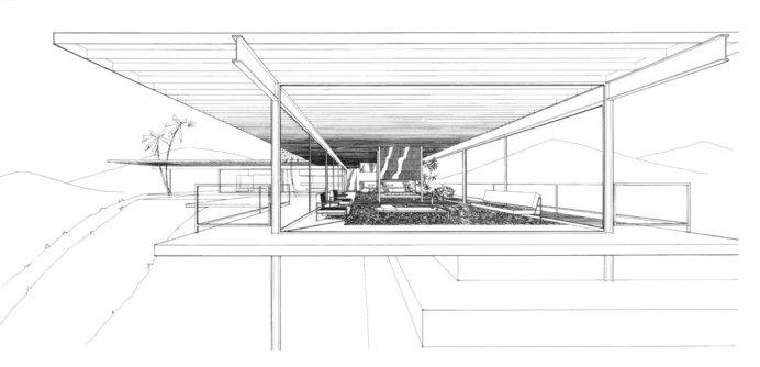Design Luminy Case-Study-n°22-Perspective Case Study n°22 - 1959 - Pierre Koenig (1925-2004) Histoire du design Icônes Références  Pierre Koenig Case Study n°22