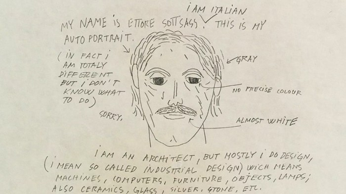 Design Luminy Autoportrait-1024x574 «Que veut dire être designer?» - Ettore Sottsass (1917-2007) Histoire du design Références Textes  Ettore Sottsass