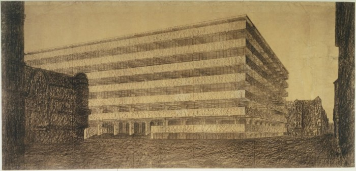 Design Luminy ludwig-mies-van-der-rohe-concrete-office-building-project-berlin-germany-exterior-perspective-1923 Ludwig Mies van der Rohe – Thèses de travail – 1923 Histoire du design Références Textes  Mies van der Rohe