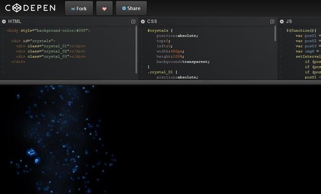 codepen dark ui homepage coding ide cloud webapp