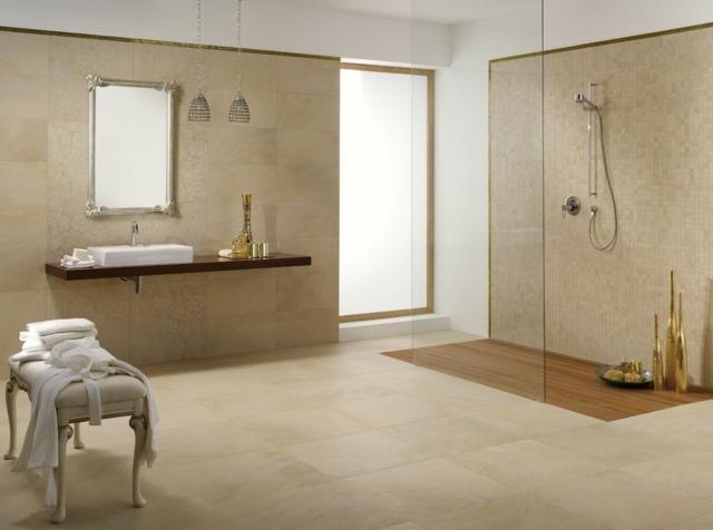 salle de bain spacieuse idée aménagement pouf cuir douche cabine miroire lampe suspendue