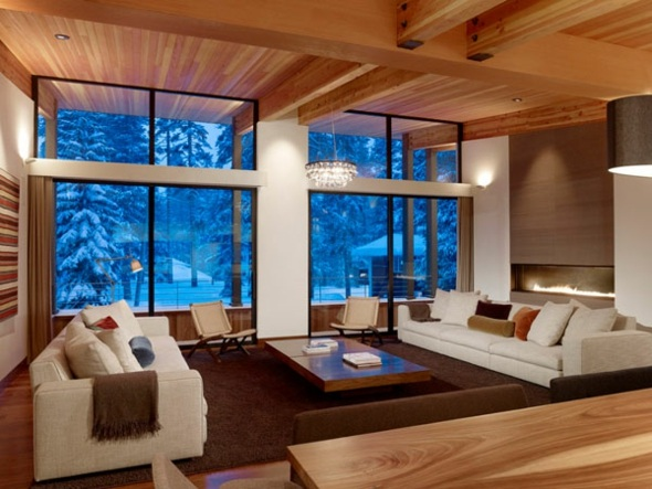 salon chaleureux en hiver