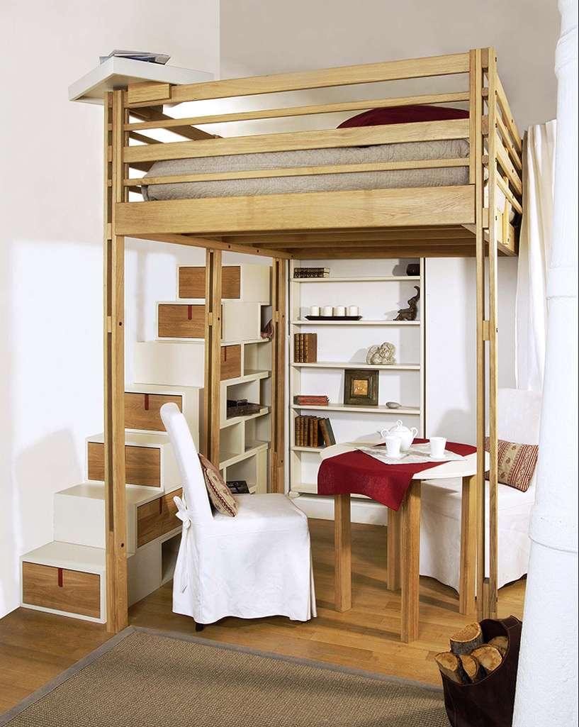 Elegant Lit Mezzanine Bois Table Ronde Design Ides With