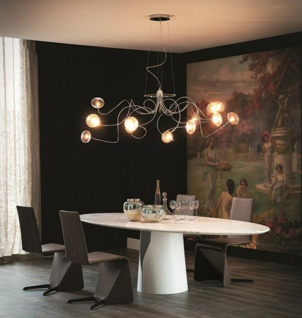salle a manger avec lustre design