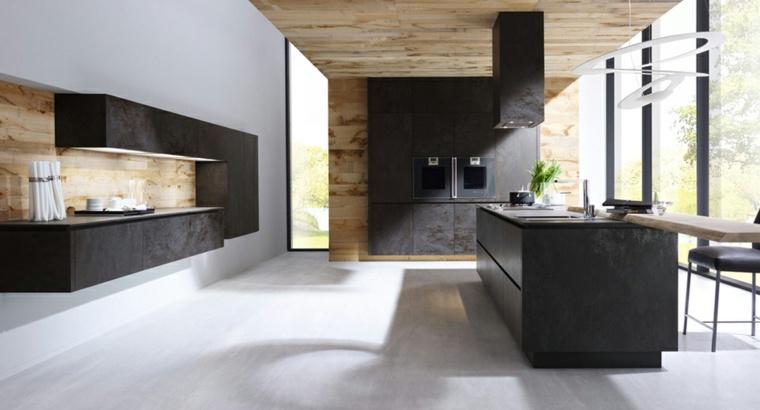 cuisine noire et bois moderne et elegante