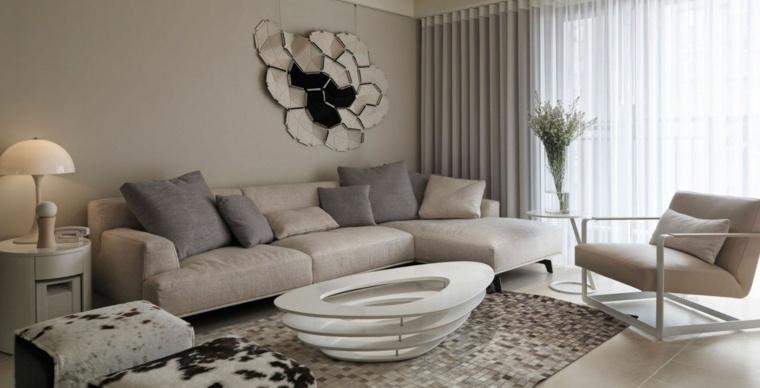 dcoration de salon de design moderne avec peinture en gris et taupe - Decoration Salon Moderne Taupe