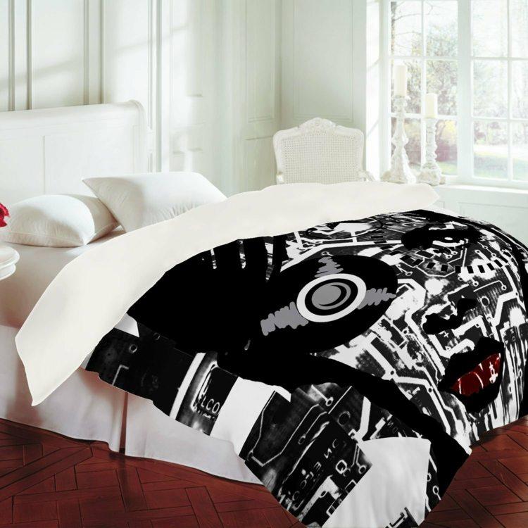 Dco Noir Et Blanc Avec Touches De Couleur Chambre Coucher
