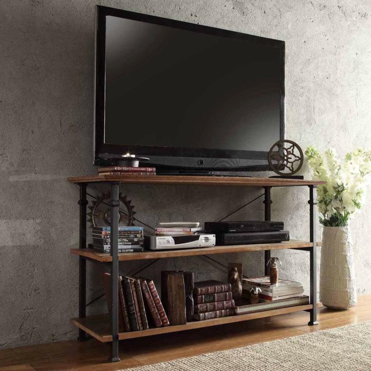 salon avec le meuble tv industriel