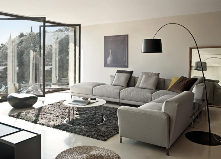 amnager salon moderne gris ide canap gris clair tapis de sol - Salon Design Sol Gris