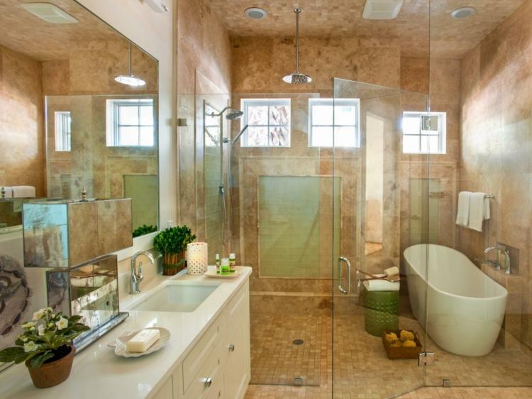 carrelage travertin salle de bain et