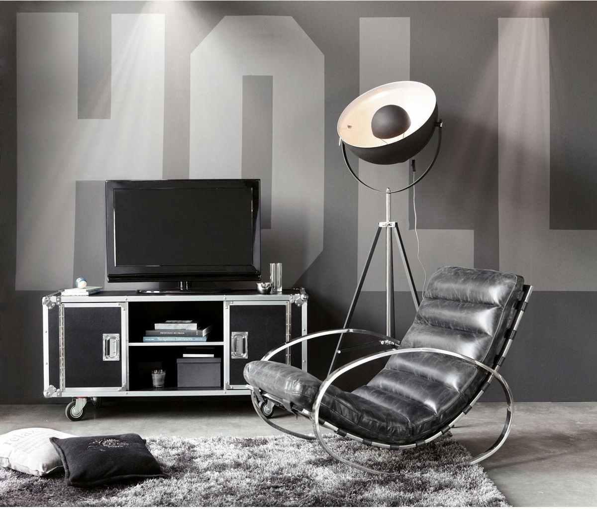 meuble tv bibliotheque design roulettes moderne maisons du monde fauteuil cuir noir tapis de sol gris