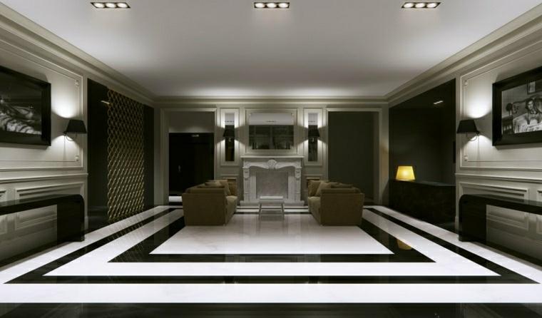 Salon Contemporain En Noir Et En Couleurs Fonces