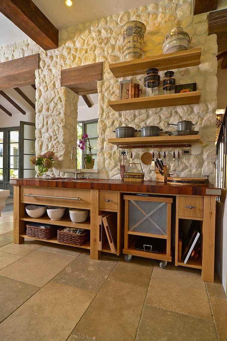 deco pierre pour les murs de la cuisine