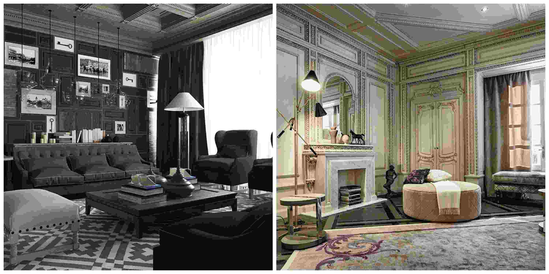 style neoclassique interieur salon pouf canape tapis de sol