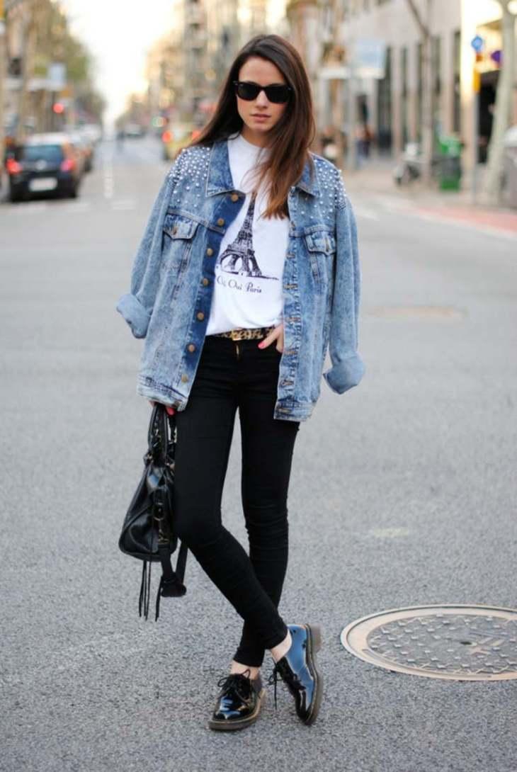 femme printemps mode tendance veste jeans pantalon noir lunettes soleil