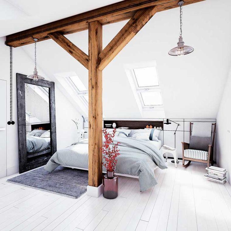idee deco chambre adulte design scandinave poutres apparentes bois