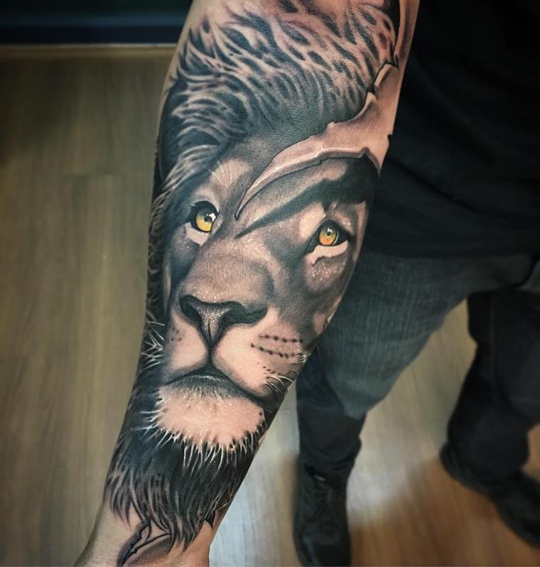 tatouage avant bras homme idee animal lion tattoo