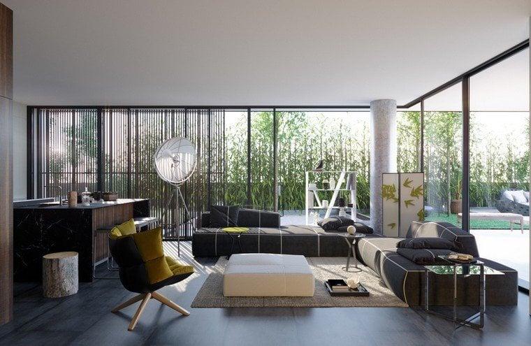 deco salon design canape gris tapis sol fauteuil table basse pouf