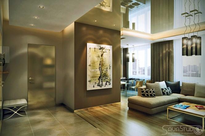 petit appartement design surfaces brillantes