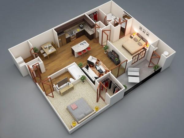 Plan Maison 3D D'appartement 2 Pièces En 60 Exemples