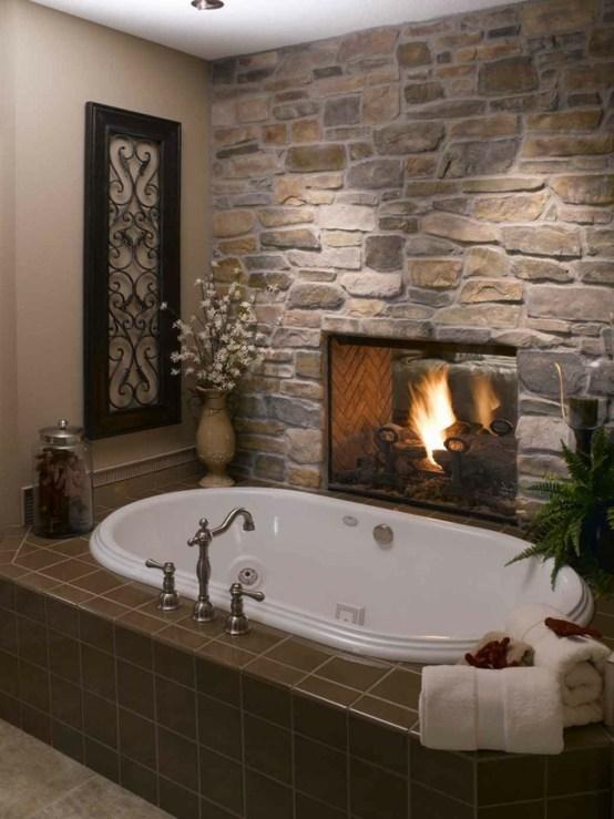 la salle de bains en pierre un