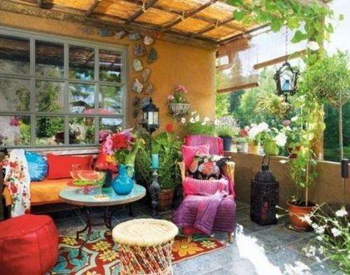 décoration veranda style bohème