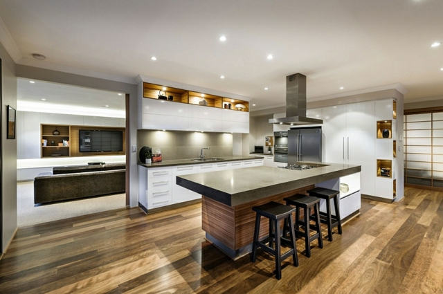 L Shaped Kitchen And Dining Room