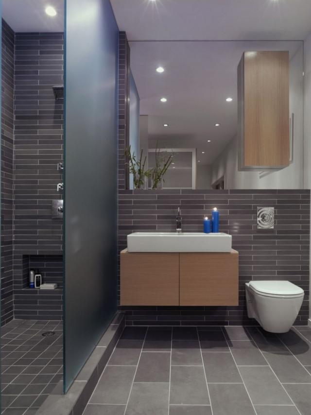 peinture-salle-bains-petite-carrelage-sombre-éclairage-led-encastré peinture salle de bains