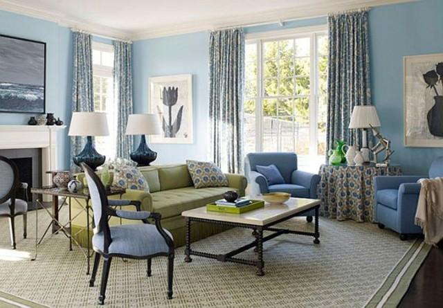 dcoration chambre salon original et moderne en jaune et bleu - Decoration Salon Bleu