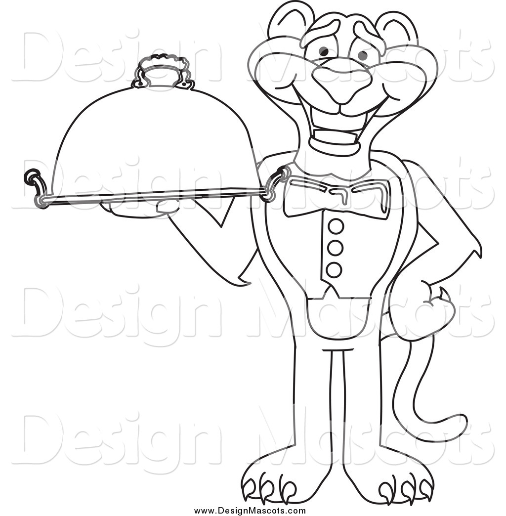 Illustration Of A Black And White Panther Mascot Holding A