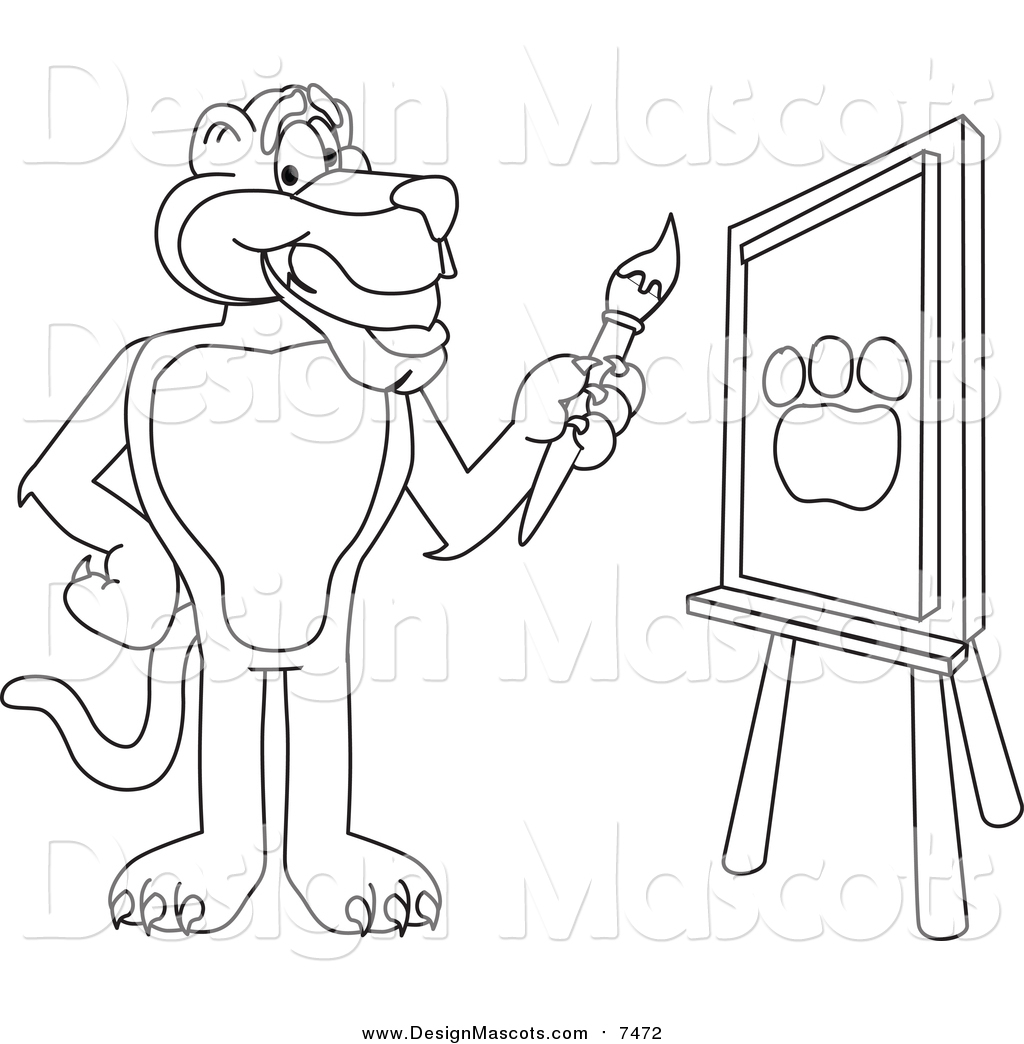 Illustration Of A Lineart Panther Character Mascot