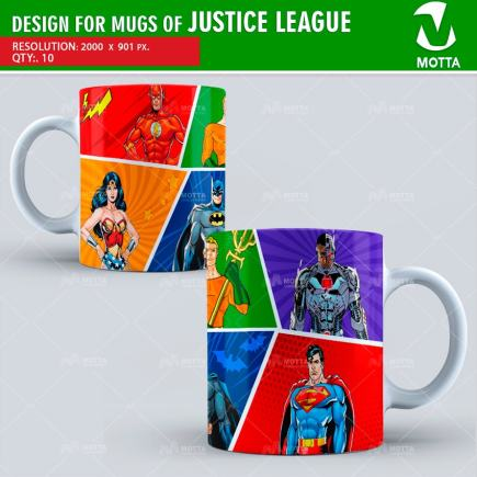 DESIGN FOR SUBLIMATION OF MUGS JUSTICE LEAGUE