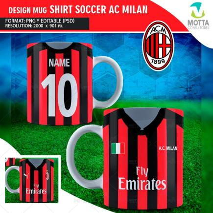 DESIGNS SUBLIMATION FOR MUG SHIRT SOCCER AC MILAN