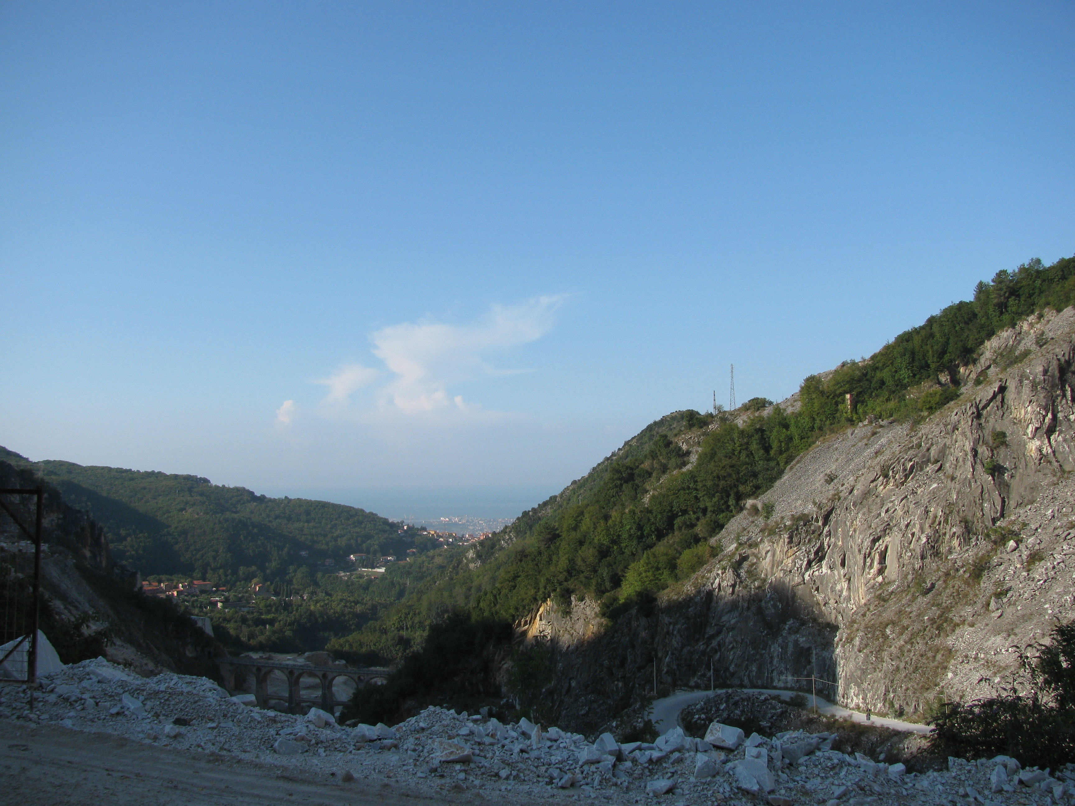 View west to the town of Carrara and beyond to the seaside town of Marina di Carrara