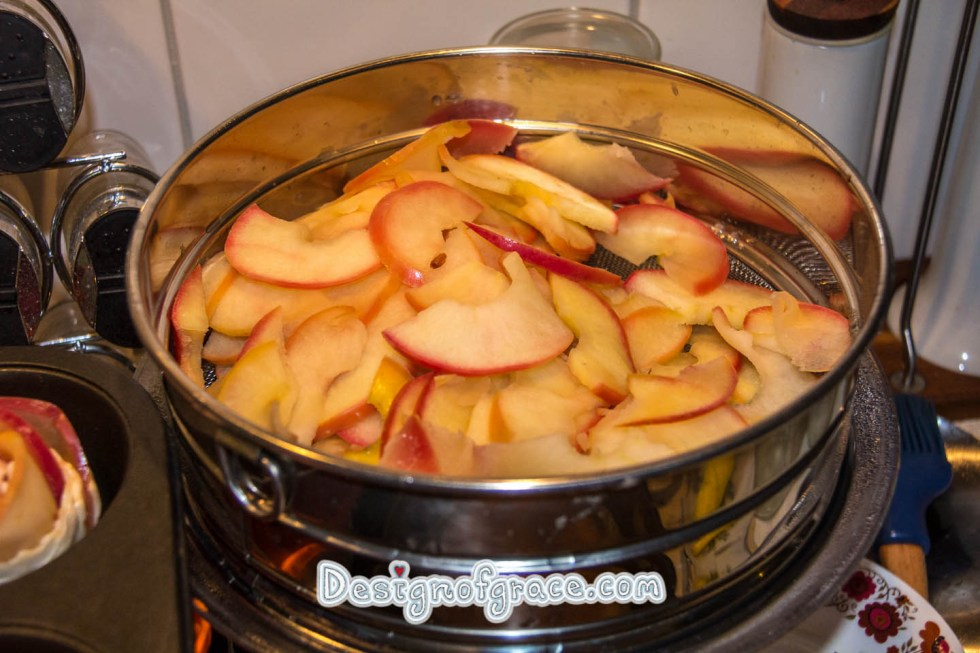 Apple sliced and cooked in sugar water