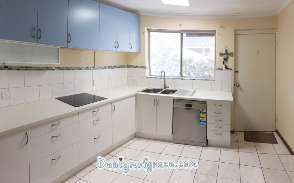Final photo of our kitchen after we did our own tiling.