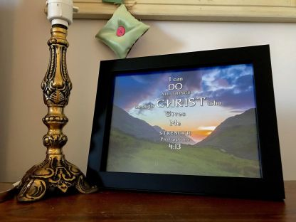 8x6 I can do all things In Christ designed mount framed on a client's bed side table
