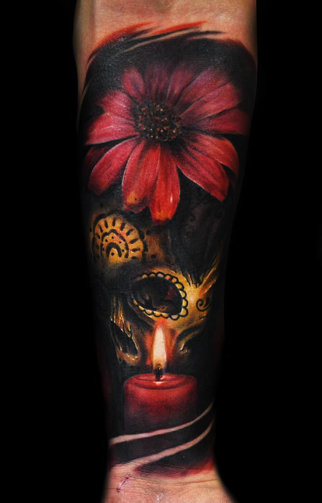 Flower And Skull Tattoo By Max Pniewski Design Of