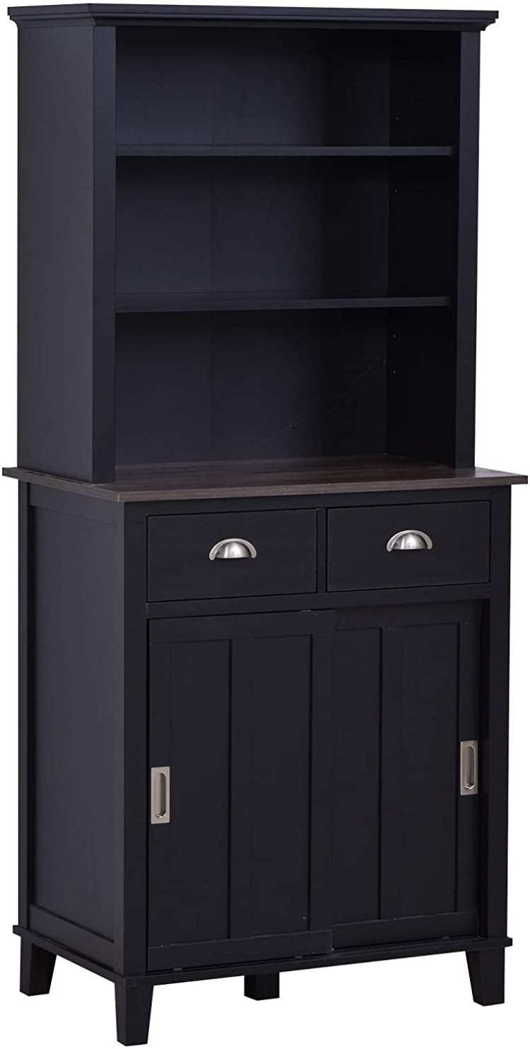Amazon Com Homcom Freestanding Kitchen Pantry Cabinet Cupboard With Sliding Doors And Open Shelves Adjustable Shelving Black Furniture Decor