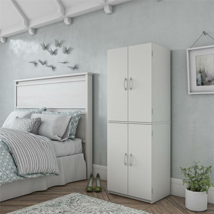Red Tall Pantry Cabinet Wood 4 Door Floor Kitchen Storage Cupboard Modern Home For Sale Online Ebay