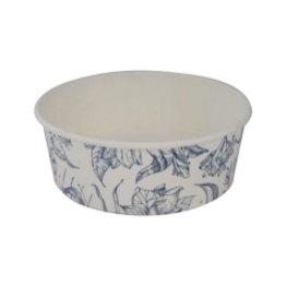 White cardboard salad bowl with print