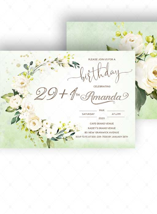 30th birthday invitation card template