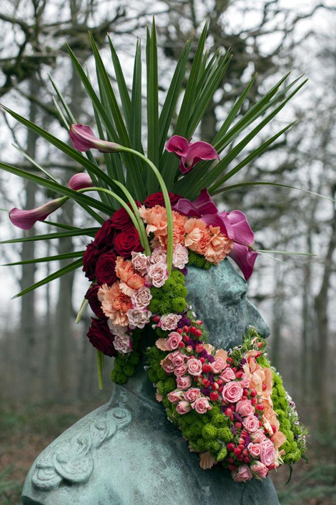 Floral Designer Geoffroy Mottart Adorns Statues With Floral Beards