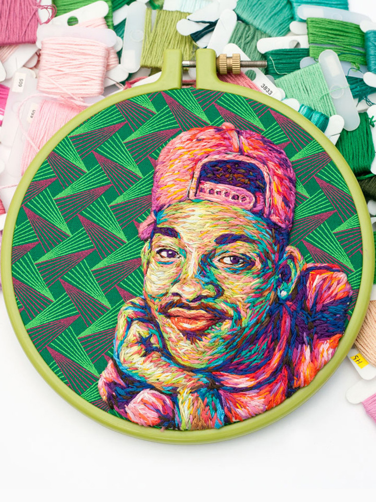 Embroidery Artist makes Portraits of Celebrities